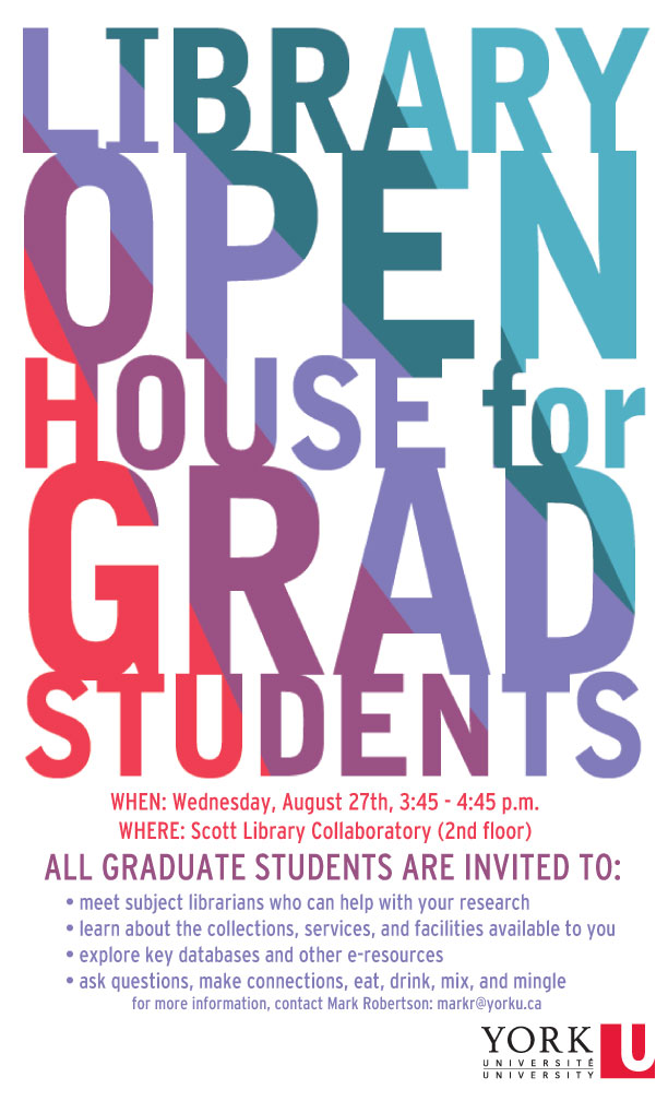 Library Open House for Graduate Students @ Scott Library Collaboratory (2nd floor)