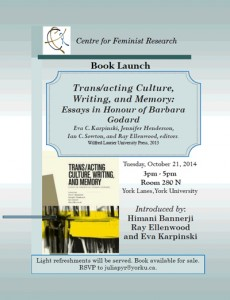 trans/acting culture, writing, and memory book launch poster
