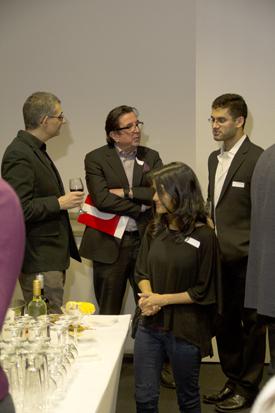 Paul Elia, centre, talks with Professor Farag Iiijas, left, and Elia Scholar Ayyaz Ahsan Mallick, right