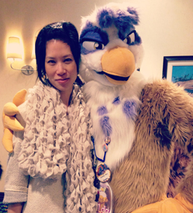 photo of Debra Soh with costumed character