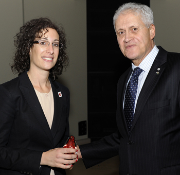 photo of professor Shayna Rosenbaum with York University President Mamdouh Shoukri