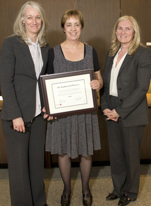 photo of Dean Barbara Crow, Professor Kate McPherson and Provost Rhonda Lenton after the presentation of the FGS Teaching Award