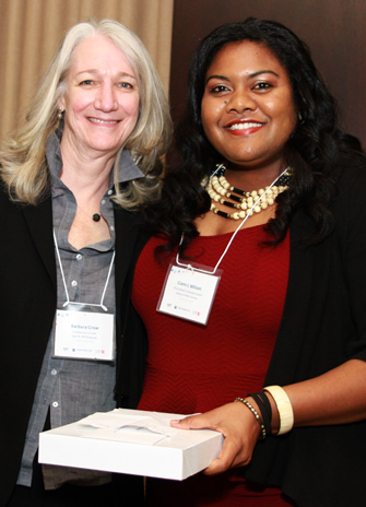 photo of Barbara Crow, dean of the Faculty of Graduate Studies and AVP Graduate with York student Ciann Wilson, SWAAC Graduate Award of Merit recipient