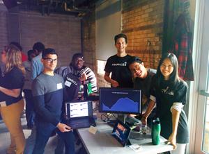 photo of Team RueView, including York U grad student Tim Leonard (centre)