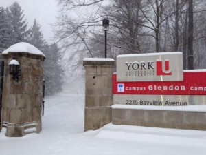 photo of a snowy Glendon campus entrance
