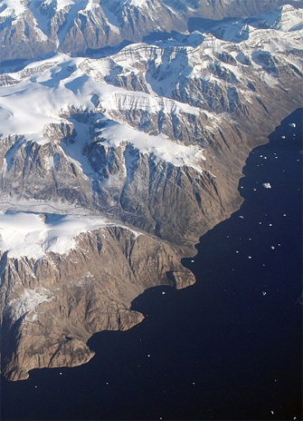 An image of the coast of Greenland showing the ice sheet