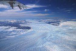 photo of the Greenland ice sheet from the air