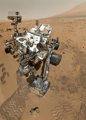 artist rendering of the Curiosity robotic rover supplied by NASA