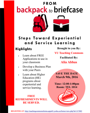 picture of the poster promoting the From Backpack to Briefcase event