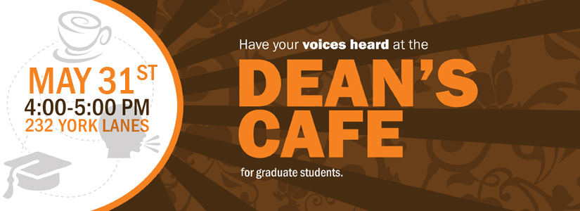 promotional graphic for the May Dean's Cafe