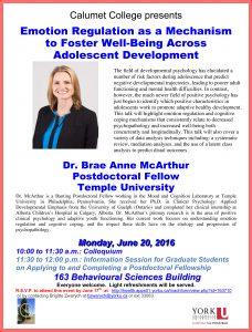 Emotion Regulation as a Mechanism to Foster Well-Being Across Adolescent Development @ 163 Behavioural Sciences Building