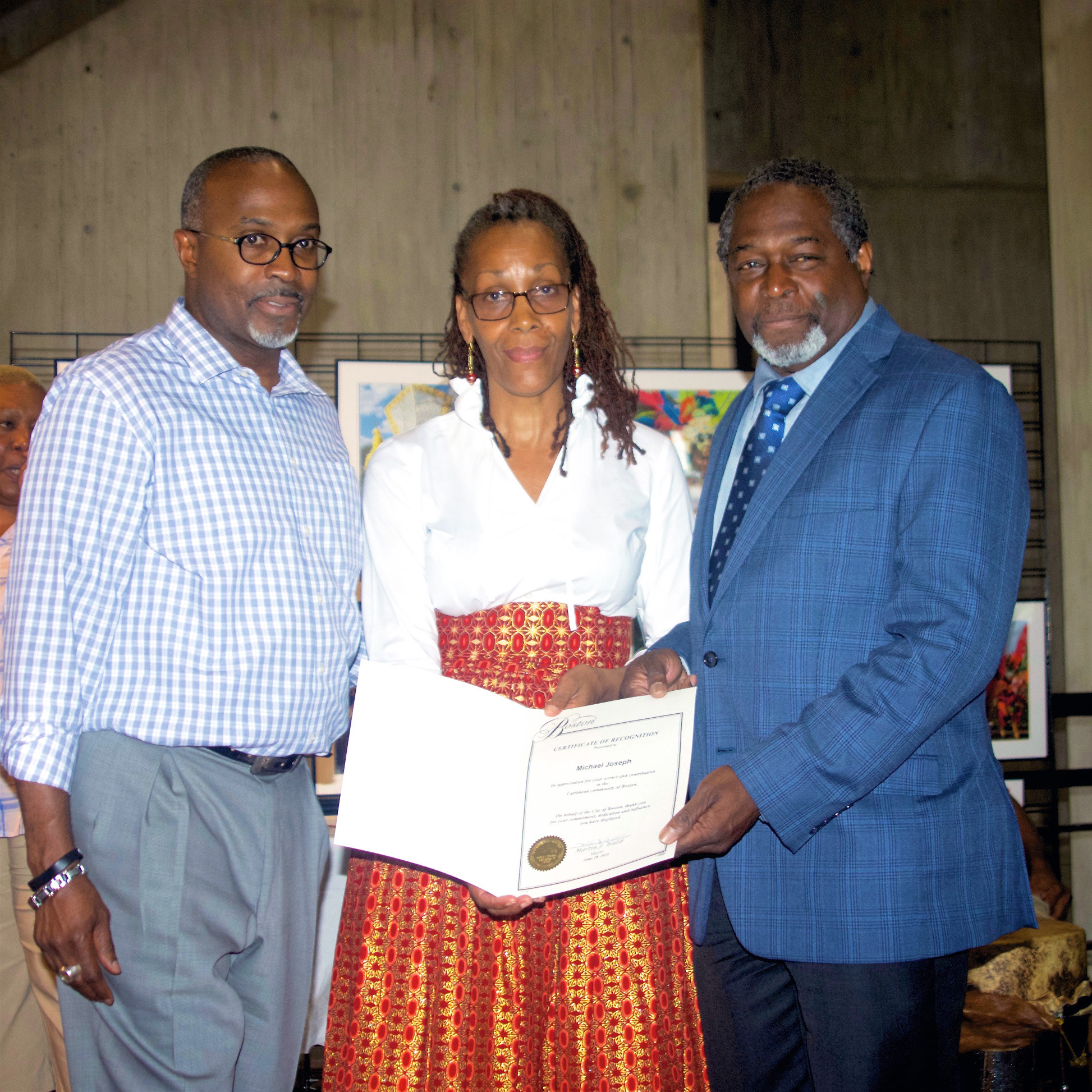 photo of MES student Michael Joseph receiving the Boston Certificate of Recognition