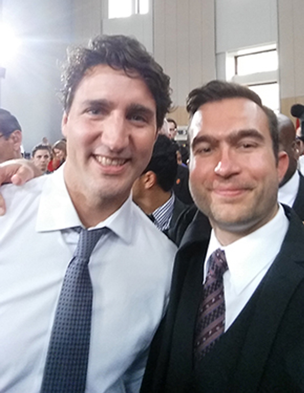 photo of Prime Minister Justin Trudeau and York PhD student George Conidis