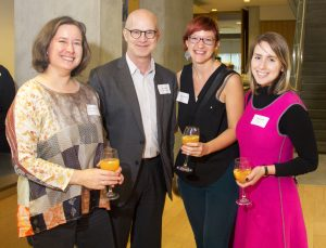 photo of student Alison Humphrey, FGS Associate Dean Academic Mike Zryd, and students Melonie Wilmink and Sydney Tyler