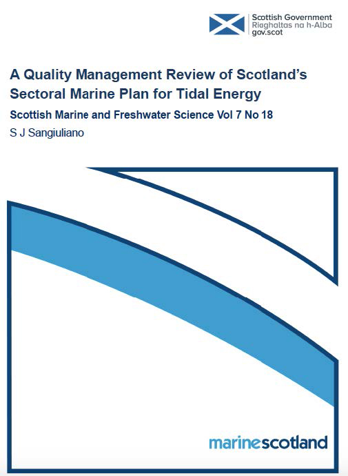 image of a Journal cover reviewing Scotland's plan on marine tidal energy
