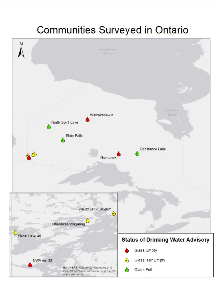 map of Ontario showing selected First Nations communities and the state of their drinking water