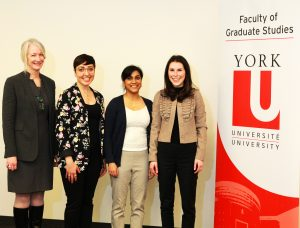 photo of Dean Barbara Crow, Elisea De Somma, Tehmeena Chaudhry and Shira Yufe