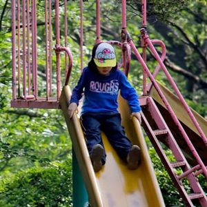 photo of a child on a slide