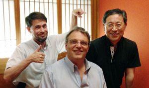 photo of William Beaudot, Laurence Harris and Kenzo Sakurai