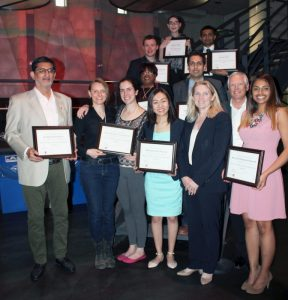 photo of a group of student award winners with vice-president Rhonda Lenton and sponsor Robert Tiffin