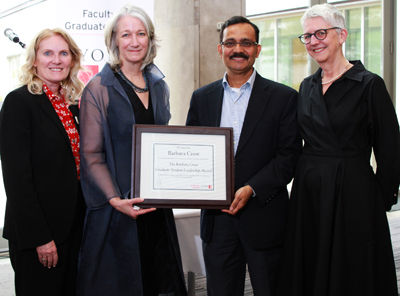 photo of President-designate Rhonda Lenton, Barbara Crow, Fahim Quadir and Alice Pitt