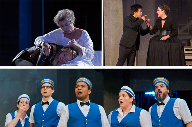 collage of production images from King Lear and Twelfth Night by Cylla von Tiedemann