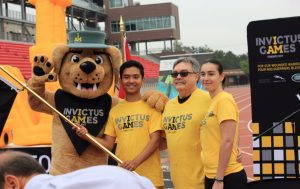 photo of Vimy, Invictus Games mascot, Flag bearers Sayam Khan, Schulich School of Business student, Professor Walter Perchal, York University, Giovanna Cioffi is a three-time graduate of York University