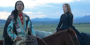 An image from Woman Walks Ahead featuring York University Professor Michael Greyeyes and Jessica Chastain