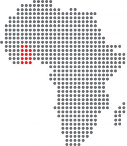 stylized map of Africa with Ghana set in a different colour