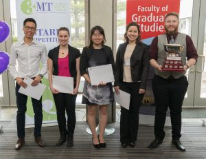photo of top five students from the 3MT competition held at York Univesity