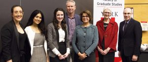 photo of Winners of the York U 3MT are Victoria Larocca (second place), Annalise D'Souza (first place), Mikhaela Gray (third place) with judges Steve Watt, Shamshad Madhok, Alice Pitt, Matthew Shulman