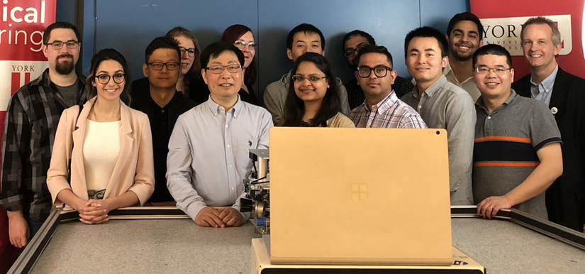 photo of Research Chair in Space Technology at York University, George Z.H. Zhu and team