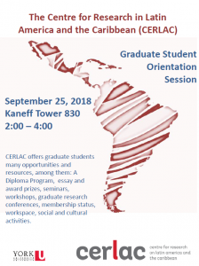 image of the 2018 CERLAC graduate student orientation poster