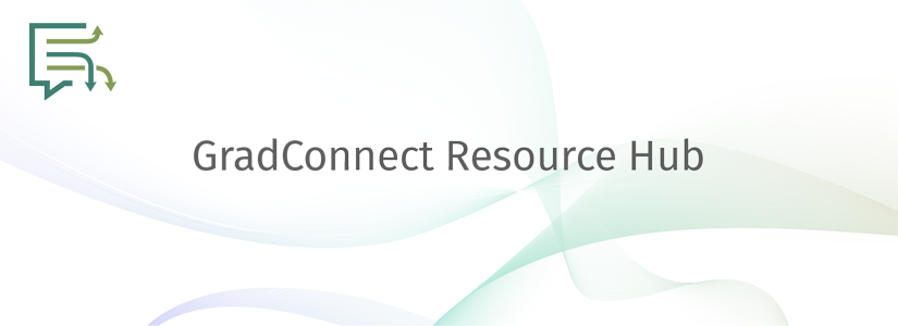 stylized banner for the resource hub with the gradconnect logo