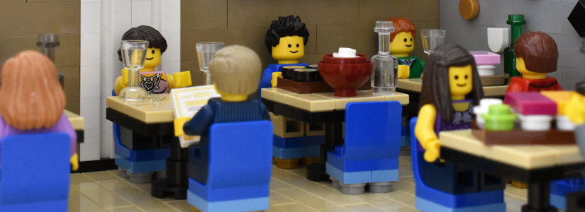 photo of lego characters in a restaurant setting