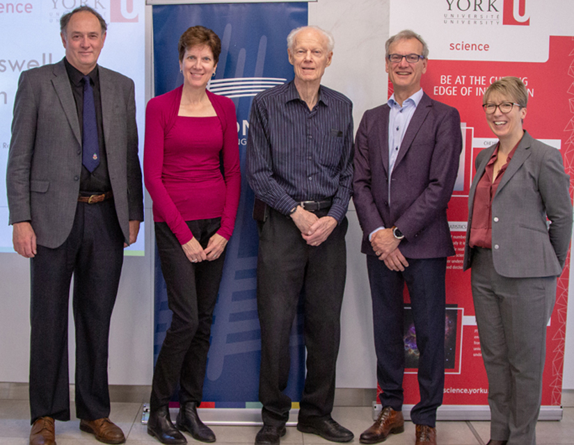 photo of Interim Dean of the Faculty of Science EJ Janse van Rensburg, Ruth Carswell, Allan Carswell, Don Carswell, and Lassonde School of Engineering Dean Jane Goodyer