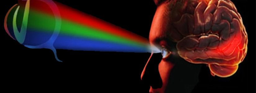 graphic with a light spectrum emanating from the eye ball of a human head shown in profile