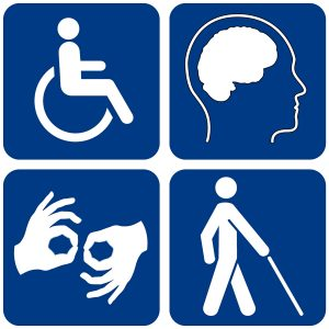 image of four disability symbol, wheelchair, sign language, walking with a cane and an image of a brain inside a head