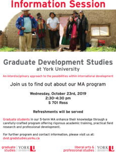 image of a poster promoting DVST MA Information session October 23