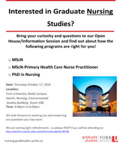 image of the 2019 Graduate Nursing Open House poster