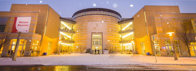 photo of Vari Hall in a snowfall