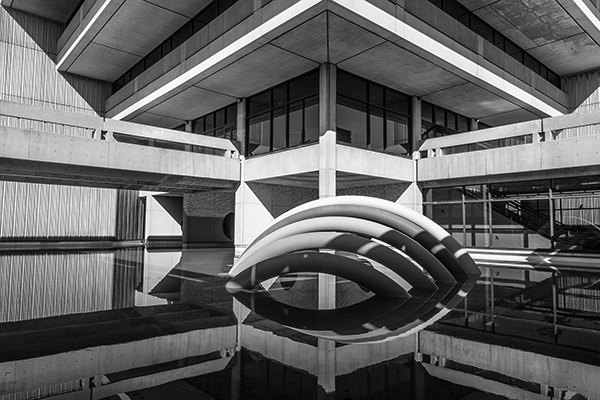 black and white image of the Scott Library rainbow sculture