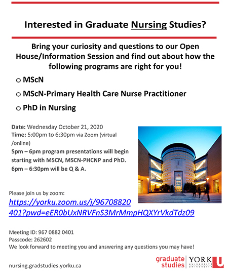 image of a flyer promoting the October 21 Nursing Program virtual open house