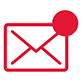 an icon of an envelope with a large red circle in the upper right corner