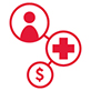 icon of a generic person linked to a red cross and a dollar sign
