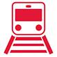 icon of the front of a transit train on a track