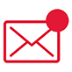 icon of an envelope with a circle in the upper right corner