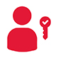 icon of a generic person figure and a key