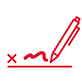 icon of a pen signing by a letter x