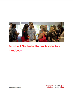 image of the postdoc handbook cover showing postdoctoral fellows socializing